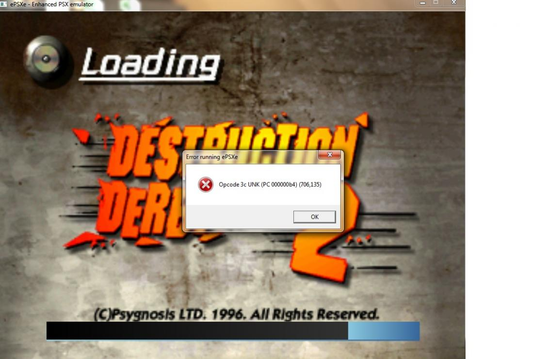 Can't get Destruction Derby 2 to work